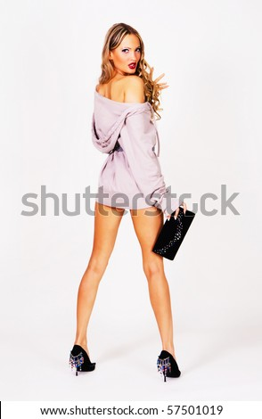 Fashionable model in a gray pullower