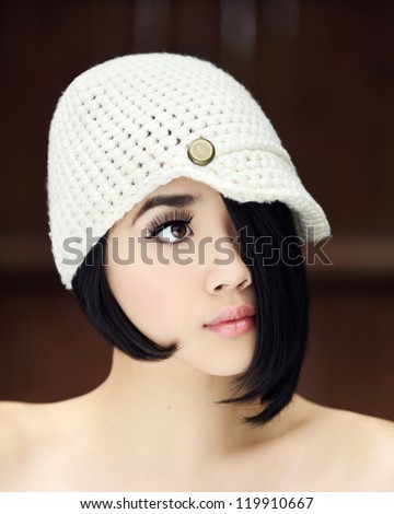 Fashionable Model in a Knit Hat