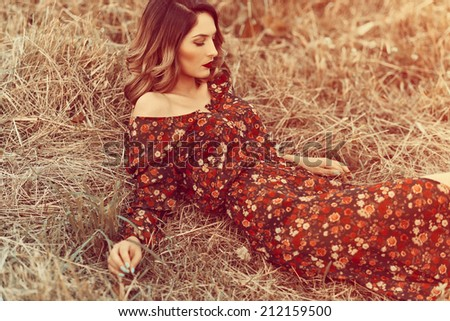 Fashionable portrait of a beautiful girl in a dress in the field - stock photo