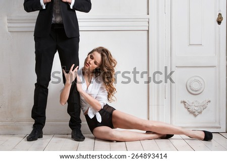 Fashionable portrait of a couple - stock photo