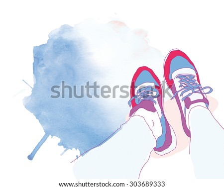 fashionable sneakers on a watercolor spot