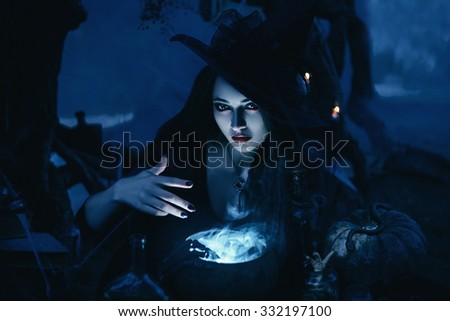 fashionable toning,creative computer colors,On the eve of Hello ween witch to conjure and decided to cook a mystical potion in the tank, gradually adding and stirring - stock photo