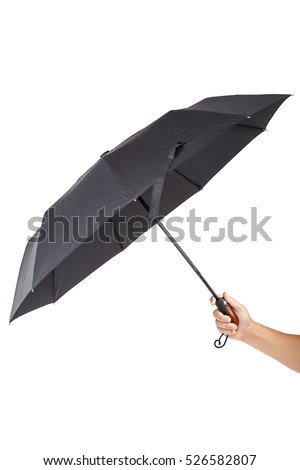 Fashionable umbrella in hand isolated on white background.
