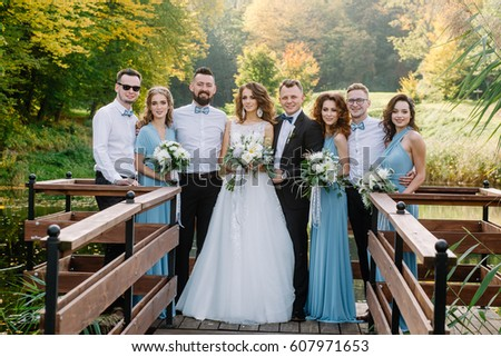 Fashionable Wedding Ceremony in Spring in the Nature