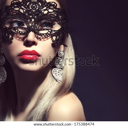fashionable woman in mask with red lips