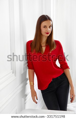 Fashionable Woman. Portrait Of Successful Office Business Lady Looking Confident, Happy And Smiling. Wellbeing, Luxury Lifestyle. - stock photo