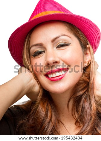 Fashionable woman wearing a fashionable and bright Fedora hat