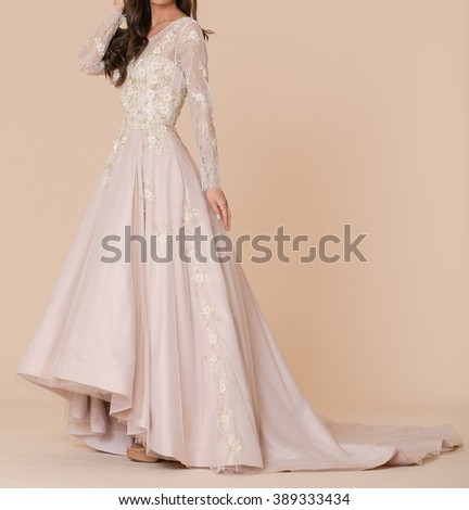 Fashionable woman white wedding dress