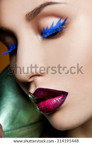 fashionable woman with art visage - stock photo