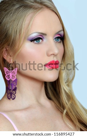 fashionable woman with pink make up