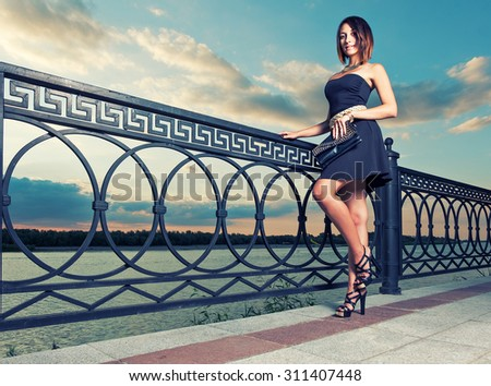 Fashionable women is posing outdoors with trendy clutch covered with rivets in hands. Full Length Portrait of Beautiful Young Woman near Ornate Metal Fence. Dramatic sky. Toned image Place for text - stock photo