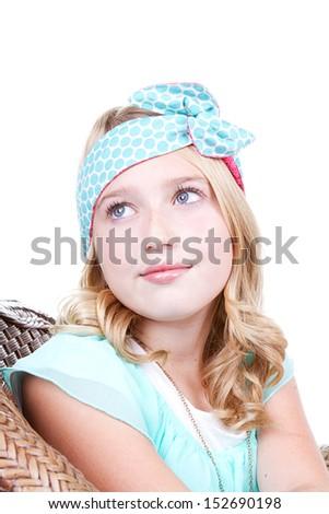 Fashionable young girl wearing vintage fabric headband, isolated on white  - stock photo