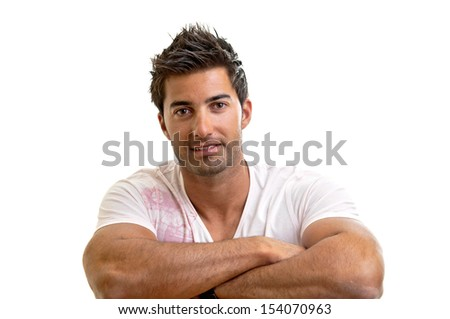 Fashionable young man isolated in white