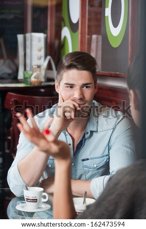 Fashionable young urban couple going out on a date. - stock photo