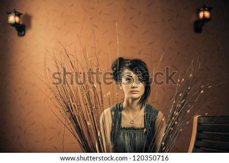 fashionable young woman indoor portrait