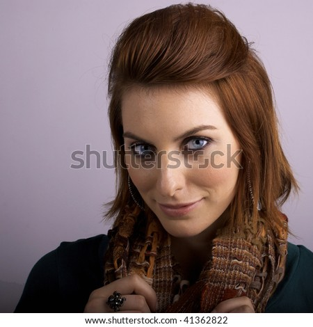 Fashionable Young Woman with Scarf