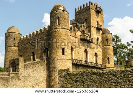 Fasilides Castle, founded by Emperor Fasilides.Gondar or Gonder (Ethiopia), once the old imperial capital and capital of the historic Begemder Province. - stock photo