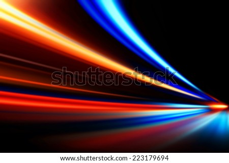 fast acceleration speed motion on night road