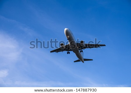 fast airplane in blue sky