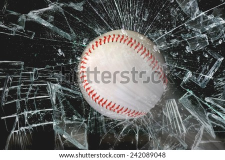 Fast baseball through glass window. - stock photo