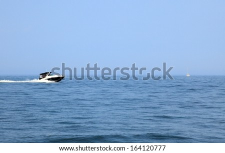 fast boat in baltic sea view