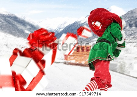 fast christmas elf with big red sack and xmas boxes splash on roof