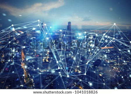 Fast connection in the city. Abstract technology background