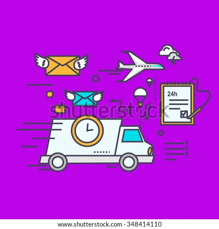 Fast delivery concept icon flat design. Service business transportation, cargo and courier, transport and distribution, logistic mail, receive envelope, send and time illustration. Raster version - stock photo
