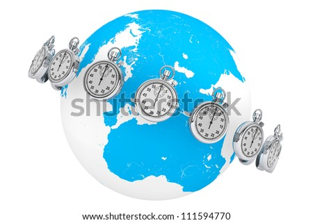 Fast delivery concept. StopWatch with Globe on a white background - stock photo