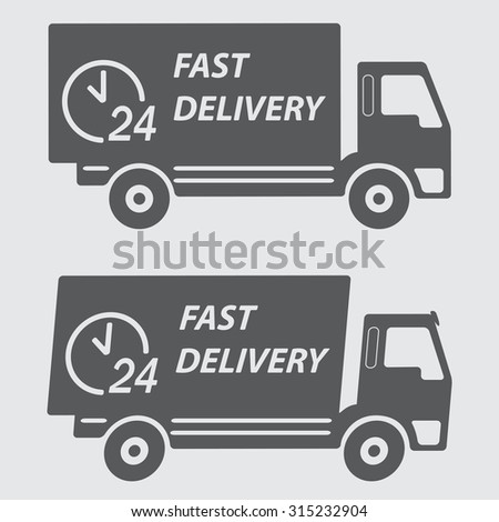 Fast delivery icon or sign. Symbol car carrying cargo, 24 hour.