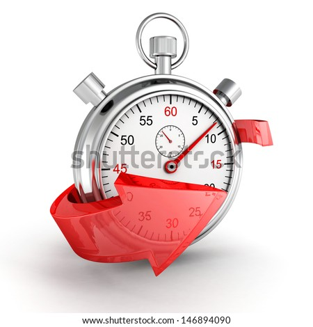 Fast delivery icon. Stopwatch with red arrow on a white background - stock photo