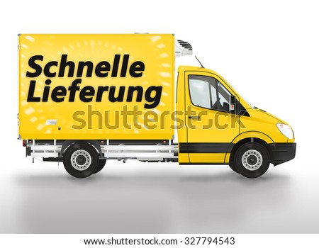 Fast delivery in German (Schnelle Lieferung) .Van on the white background. Raster illustration.