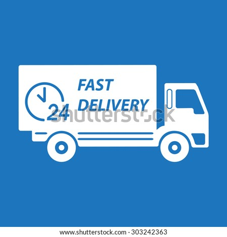 Fast delivery truck. White on blue background. Transportation icon or sign.