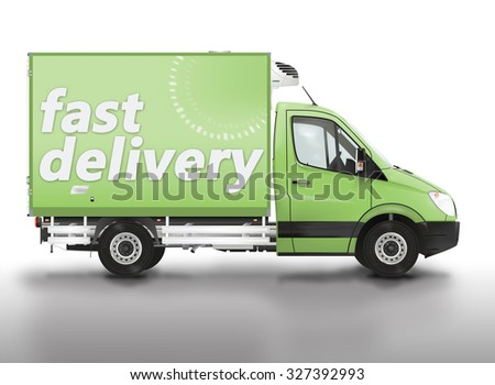 Fast delivery. Van on the white background. Raster illustration.