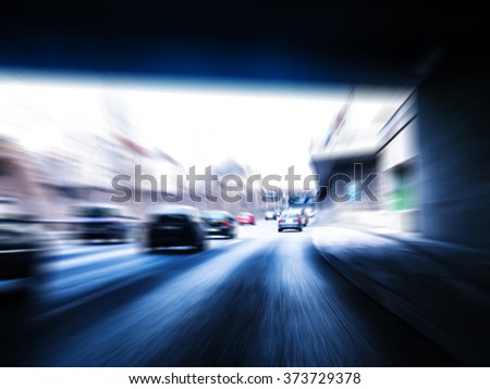 Fast driving on highway - stock photo