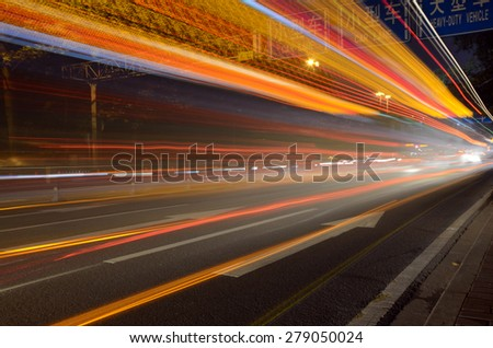 fast driving traffic at night