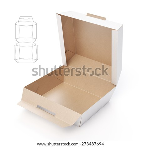 Fast-food Box with Die-Cut Template  - stock photo