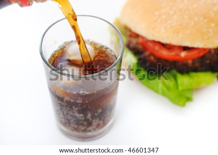 Fast food, burger and coke