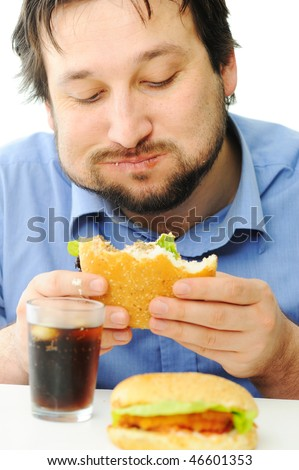 Fast food, burger and coke, full mouth