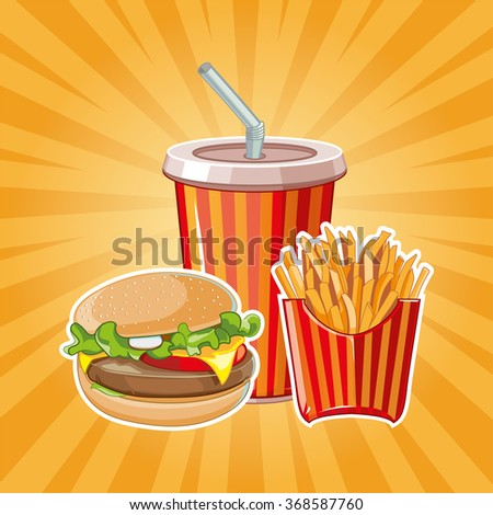 fast food: burger, plastic glass with cold drink and French fries