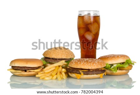 Fast food - burgers and drink with ice isolated on white background