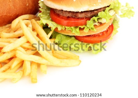 Fast food close-up isolated on white - stock photo