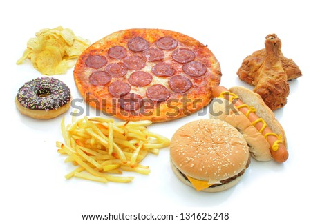 Fast food collection - stock photo