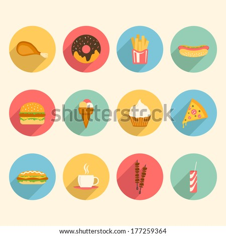fast food colorful flat design icons set. template elements for web and mobile applications. raster version - stock photo