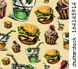 Fast food colorful seamless pattern. Hand drawing sketch background - stock photo