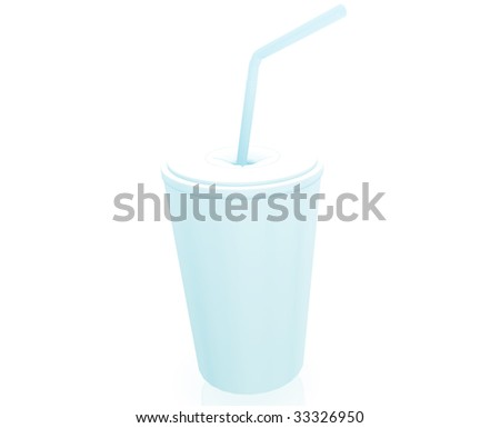 Fast food cup illustration glossy metal style isolated