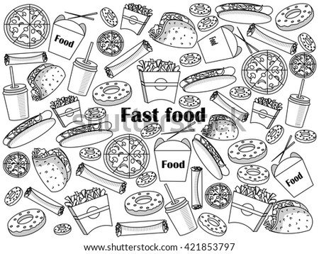 Fast food  design colorless set raster illustration. Coloring book. Black and white line art
