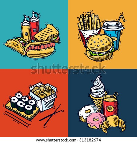 Fast food design concept set with sandwich croissant hotdog sketch icons isolated  illustration - stock photo