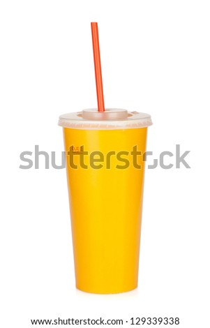 Fast food drink with straw. Isolated on white background - stock photo