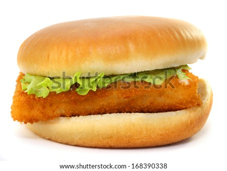 Fast food  fish on white background   - stock photo